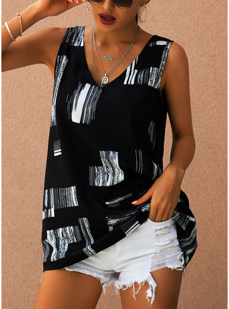 Print Sleeveless Polyester V Neck Tank Tops Blouses