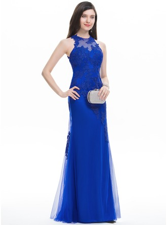 Trumpet/Mermaid Scoop Neck Floor-Length Tulle Evening Dress