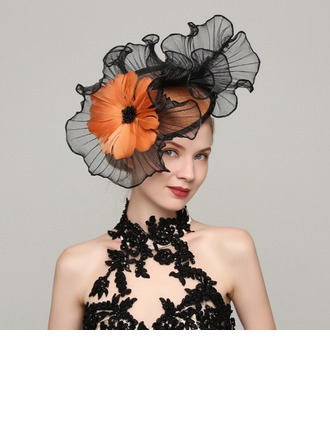 Ladies' Beautiful Cambric/Feather With Feather Fascinators