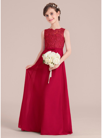 A-Line/Princess Floor-length Flower Girl Dress - Chiffon/Lace Sleeveless Scoop Neck With Bow(s)