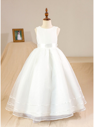 Plesové/Princesový Délka na zem Flower Girl Dress - Organza/Satén Bez rukávů Scoop Neck S Luk (Petticoat NOT included)