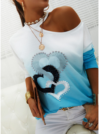 Print Gradient Heart One Shoulder Long Sleeves Casual Blouses