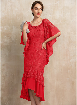 Trompete/Meerjungfrau-Linie U-Ausschnitt Asymmetrisch Chiffon Spitze Kleid für die Brautmutter mit Perlstickerei Pailletten