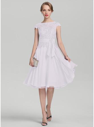 Vestidos princesa/ Formato A Decote redondo Coquetel Tecido de seda Renda Vestido para a mãe da noiva com Beading