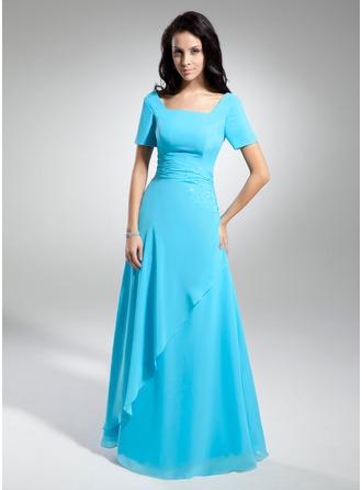 A-Linie/Princess-Linie U-Ausschnitt Bodenlang Chiffon Kleid für die Brautmutter mit Rüschen Perlen verziert