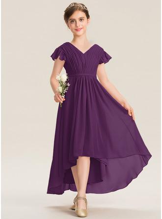 A-Line V-neck Asymmetrical Chiffon Junior Bridesmaid Dress With Bow(s) Cascading Ruffles