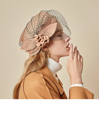 Ladies' Beautiful/Glamourous/Charming Wool With Silk Flower/Tulle Beret Hats