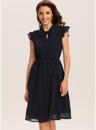 A-Linien-Kleid V-Ausschnitt Polyester Modekleider