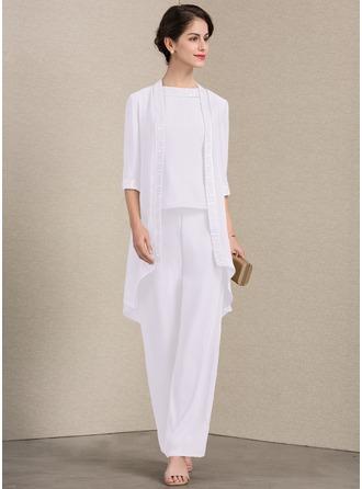 Corte A Decote redondo Longuete Tecido de seda Vestido para a mãe da noiva com Renda