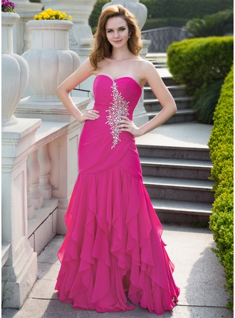 Trumpet/Mermaid Sweetheart Floor-Length Chiffon Prom Dress With Beading Cascading Ruffles