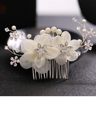 Dame Elegant Legering/Imiteret Pearl/Silke Blomst Kamme & Hårspænder