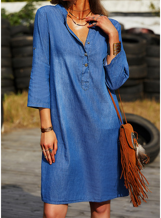 Solid Shift Long Sleeves Mini Denim Casual Tunic Dresses