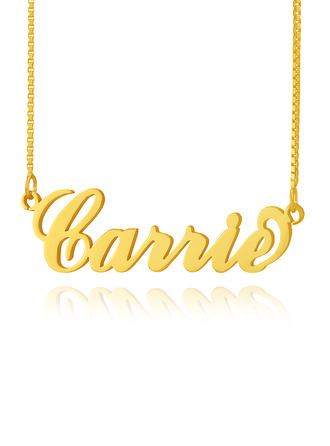 Custom 18k Gold Plated Silver 'Carrie' Style Name Necklace -