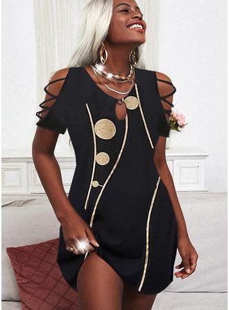 Print Shift Short Sleeves Mini Casual Vacation Tunic Dresses