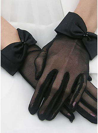 Polyester Wrist Length Bridal Gloves With Bow