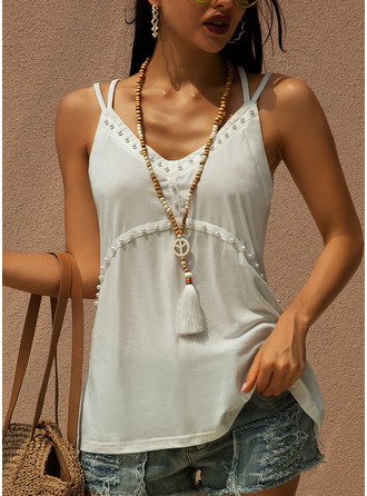 Solid Spaghetti Straps Sleeveless Casual Tank Tops