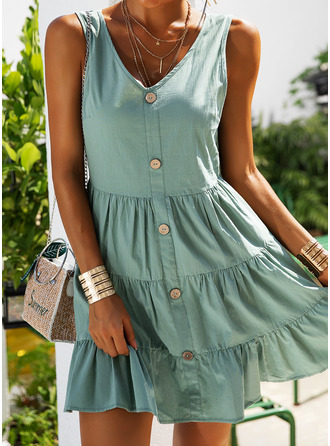 Solid A-line Sleeveless Mini Casual Vacation Skater Dresses
