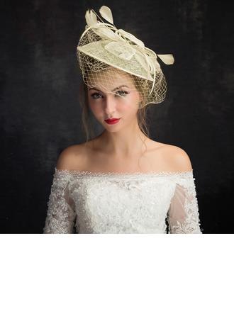Señoras' Estilo clásico Pluma/Hilado de la red/Encaje/Tul con Pluma Tocados/Sombreros Tea Party