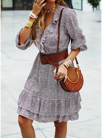 Print A-line Long Sleeves Mini Casual Skater Dresses