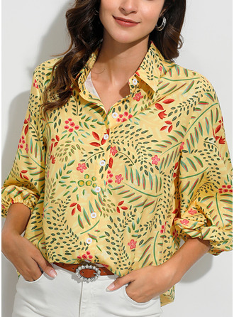 Floral Print Lapel Long Sleeves Button Up Casual