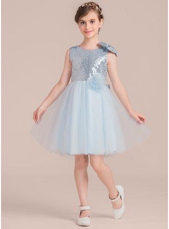 A-Linie/Princess-Linie U-Ausschnitt Knielang Tüll Kleid für junge Brautjungfern mit Blumen Schleife(n)