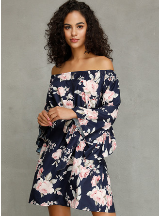 Above Knee Off the Shoulder Chiffon Print 3/4 Sleeves Fashion Dresses