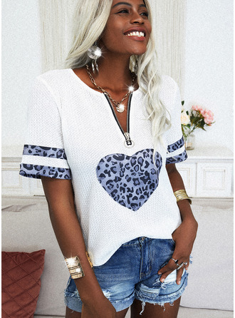 Leopard Print Heart V-Neck Short Sleeves Casual Blouses