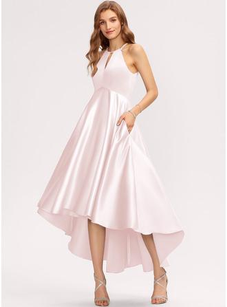 A-Linie U-Ausschnitt Asymmetrisch Satin Brautjungfernkleid mit Taschen