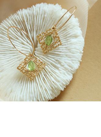 Senhoras Exótico Banhado a ouro/Bronze com Oval Cristal Brincos Amigos/Dama de honra