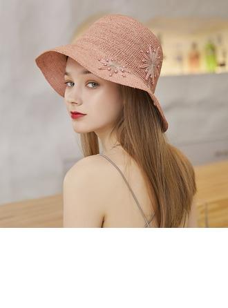Ladies' Hottest/Romantic Raffia Straw/Imitation Pearls With Silk Flower Beach/Sun Hats/Tea Party Hats