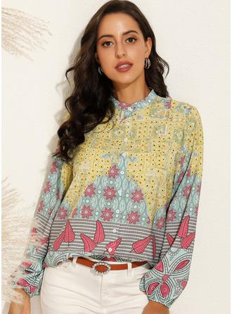 Print Langermer Polyester V-hals Skjorte Bluser Bluser