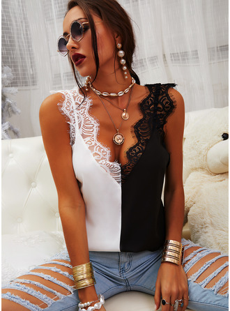 Lace Patchwork V-Neck Sleeveless Casual Tank Tops