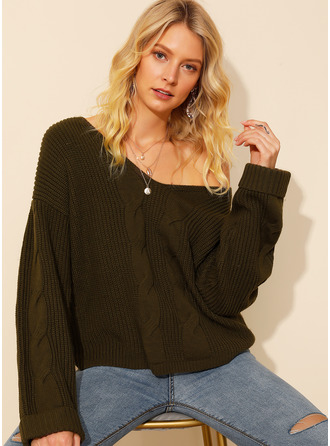 V-Neck Sexy Solid Cable-knit Chunky knit Sweaters