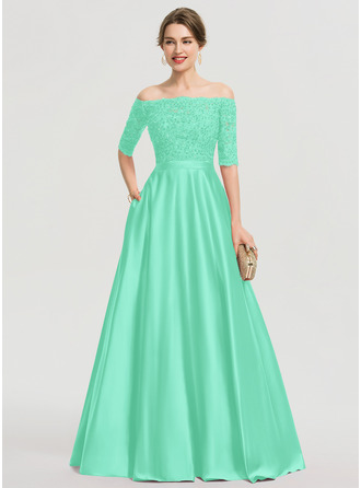 Ball-Gown/Princess Sweetheart Floor-Length Satin Prom Dresses With Beading Sequins Pockets