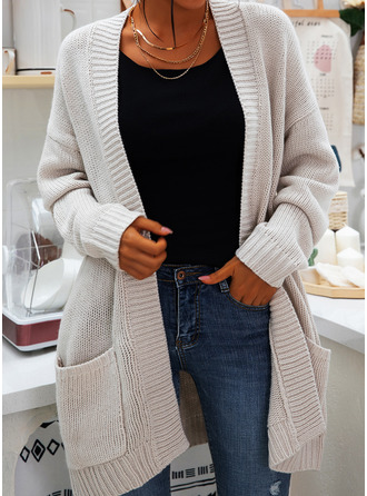 Casual Solid Chunky knit Pocket Sweaters