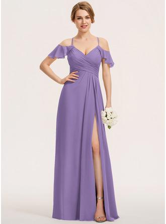 A-Line V-neck Floor-Length Chiffon Bridesmaid Dress With Split Front Cascading Ruffles