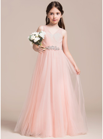A-Linie/Princess-Linie V-Ausschnitt Bodenlang Tüll Kleid für junge Brautjungfern mit Rüschen Perlstickerei Pailletten