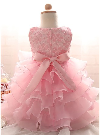 A-Line/Princess Knee-length Flower Girl Dress - Tulle/Polyester Sleeveless Scoop Neck With Ruffles/Beading