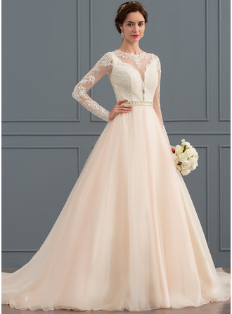 Платье для Балла/Принцесса Круглый Церковный шлейф Тюль Свадебные Платье с развальцовка