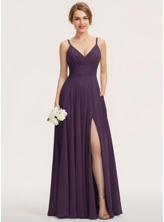 A-Line V-neck Floor-Length Chiffon Evening Dress With Ruffle Pockets