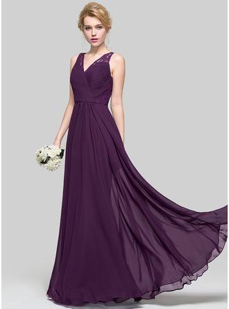 Трапеция/Принцесса V-образный Длина до пола шифон Платье Подружки Невесты с Рябь