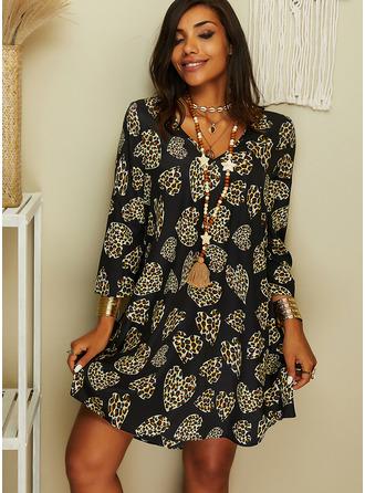 Leopard Šaty Shift Dlouhé rukávy Mini Neformální Tunika Módní šaty
