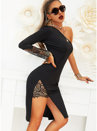 Sheath Long Sleeves Midi Little Black Dresses