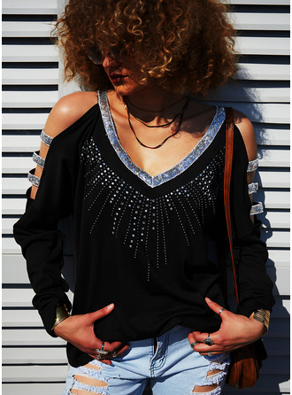 Sequins Solid Cold Shoulder Long Sleeves Casual Blouses