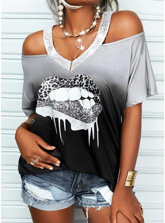 Leopard Print Gradient Cold Shoulder Short Sleeves Casual Blouses