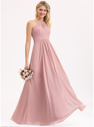 A-Line Scoop Neck Floor-Length Chiffon Bridesmaid Dress With Bow(s) Cascading Ruffles