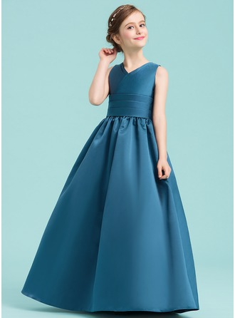 A-Line/Princess V-neck Floor-Length Satin Junior Bridesmaid Dress With Ruffle