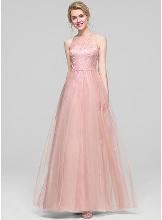 A-Line/Princess Scoop Neck Floor-Length Tulle Bridesmaid Dress