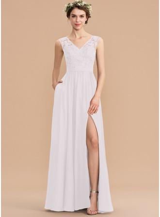 Corte A Decote V Longos Tecido de seda Renda Vestido de madrinha com Beading lantejoulas Frente aberta Bolsos