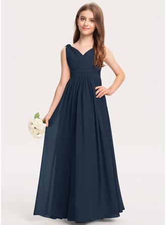 Çan V yaka Uzun Etekli Şifon Küçük Nedime Elbisesi Ile Büzgü